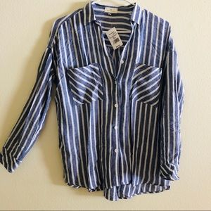 Thread and Supply Blue White Striped Button Down